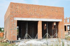 Building new brick wall garage for two cars with formwork for ceiling. Inside Royalty Free Stock Images