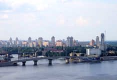 Building of new bridge. In Kiev, Ukraine Royalty Free Stock Image