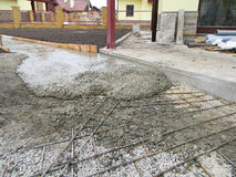 Building new concrete pavement for paio. Foundation for paving. Royalty Free Stock Image