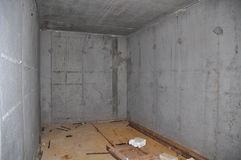 Building New Concrete Storage Cellar or Tornado Shelter Interior Royalty Free Stock Image