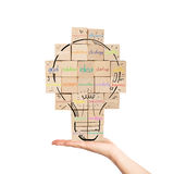 Building a new creative idea. brick wall with drawn lightbulb Stock Photos