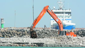 Building a new crusing ship pier at Visby harbor in Sweden stock video