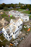 Building a new family home. Top view construction site building a new brick home Royalty Free Stock Photos