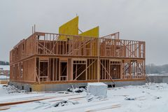 Building of New Home Construction exterior wood beam construction. Building of New Home Construction exterior wood frame and beam construction stock photos