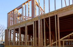 Building of New Home Construction exterior wood beam construction stock photo