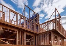 Building of New Home Construction exterior wood beam construction. Building of New Home Construction exterior wood frame and beam construction, development stock images