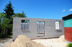 Building New House from Autoclaved Aerated Concrete Blocks. House Construction Site. Royalty Free Stock Photography