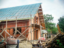 Building a new house. Building a new european style house Royalty Free Stock Image