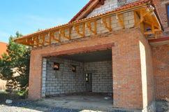 Building new house garage without garage door Stock Photos