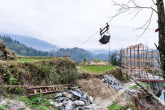 Building a new house on hill of Dazhai village Royalty Free Stock Images
