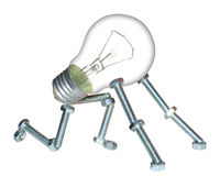 Start new business. Small robot created with screws, nuts and a classic light bulb. It represent the creation of a new business, idea or concept Royalty Free Stock Photo