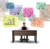 Building a new idea. Working businessman think about a new idea stock photography