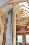 Building New Modular Pumice Stone Chimney Inside of Attic Room and Roof Construction Interior Royalty Free Stock Photography