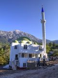 Building of new mosque under Mount Tahtali, Turkey Stock Image