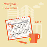 Building new plans. Flat  modern design concept of business strategy, planning. Page of calendar january 2017,  cup of tea  and pencil on the construction Royalty Free Stock Photo
