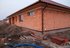 Building of new single family house. Under construction royalty free stock images
