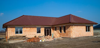 Building of new single family house. Under construction royalty free stock image