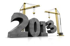 Building new year. Grey number of new year with two cranes Royalty Free Stock Image
