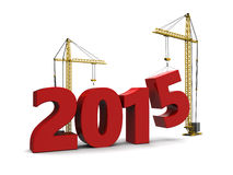 Building new year. Abstract 3d illustration of 2015 year sign built by cranes Stock Image
