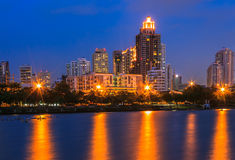 Building at night. Building, city skyline at night Royalty Free Stock Photography