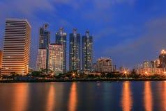 Building at night. Building, city skyline at night Stock Photo