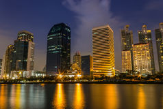 Building at night. Building, city skyline at night Stock Image