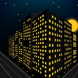 Building night scene in perspective view Royalty Free Stock Photo
