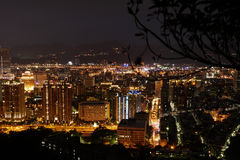 Building night scenes. Stand on Mountain top to see the night scenes Stock Photography