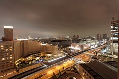 Building, at night Tokyo, Japan. Pictures taken in Tokyo in 2005 near Daiba metro station Stock Image