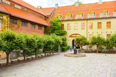 Building in Norsk Folkenmuseum. Oslo, Norway-August 13, 2014 - Outdoor exhibition at Norsk Folkemuseum royalty free stock photography