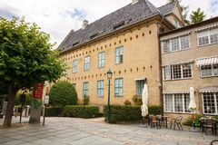 Building in Norsk Folkenmuseum. Oslo, Norway-August 13, 2014 - Outdoor exhibition at Norsk Folkemuseum royalty free stock images