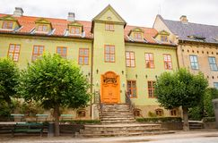 Building in Norsk Folkenmuseum. Oslo, Norway-August 13, 2014 - Outdoor exhibition at Norsk Folkemuseum stock photography