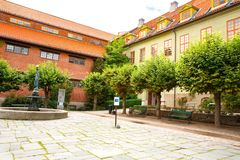 Building in Norsk Folkenmuseum. Oslo, Norway-August 13, 2014 - Outdoor exhibition at Norsk Folkemuseum royalty free stock photos