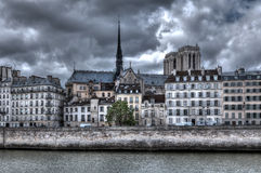 Building and Notre Dame de Paris Cathedral. Stock Photography