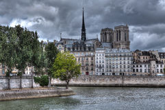 Building and Notre Dame de Paris Cathedral. Stock Photo