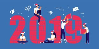 Building a numbers 2019. Business people in Santa Hat, man and woman building a numbers 2019, in flat modern style. preparing to meet the new year . Office Team stock illustration