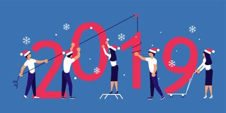Building a numbers 2019. Business people in Santa Hat, man and woman building a numbers 2019, in flat modern style. preparing to meet the new year . Office Team royalty free illustration