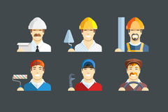 Building occupation. Set of flat icons Royalty Free Stock Images