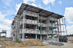 Building office construction at Thailand. Building construction is the process of adding structure to real property. The vast majority of building construction royalty free stock photography
