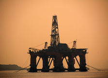 Sunset on Oil or Gas Rigs in Cromarty Firth. Invergordon, Scotland, UK stock photo