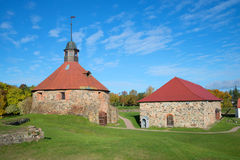 The building of the old Arsenal and the Round tower of the fortress Korela. Priozersk, Leningrad region Stock Image