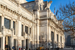 Building of old central railway station in Milan Stock Photos