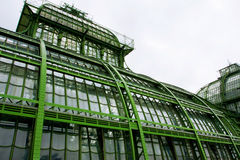 Building of an old greenhouse of glass and metal Stock Image