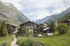 The building is an old hotel in Zermatt. 2013 Zermatt, Switzerland Stock Photography