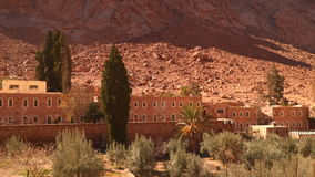 The building and the olive grove on the slopes barren mountains. The monastery of St. Catherine stock video footage