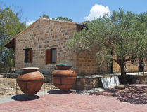 Building with olive tree and jugs Royalty Free Stock Photo