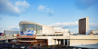 Building of Olympic Stadium. (Olimpiyskiy or Olimpiski) indoor arena in Moscow, Russia Stock Photography