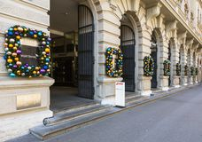 Free Building On Bahnhofstrasse Street In Zurich Decorated For The Ch Royalty Free Stock Images - 106940869