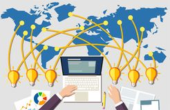 Building online business concept. Workplace and many idea light bulbs from all around the world. stock illustration