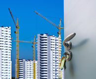 Building from the open door Stock Images